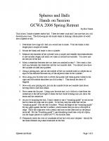 GCWA 2006 Retreat – Spheres and Balls